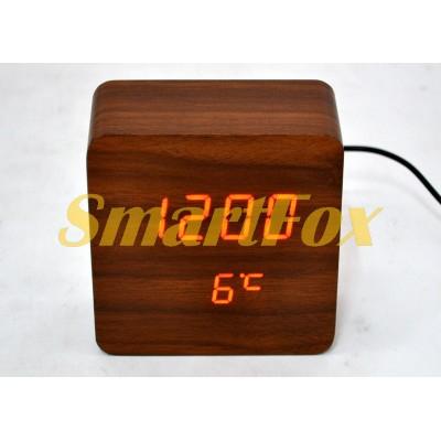 Часы настольные VST-872-1 с красной подсветкой в виде деревянного бруска