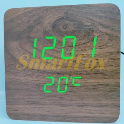Часы настольные VST-872-4 с ярко-зеленой подсветкой в виде деревянного бруска