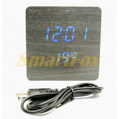 Часы настольные VST-872-5 с синей подсветкой в виде деревянного бруска