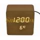 Настольные часы VST-872-6 с белой подсветкой в виде деревянного бруска