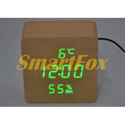 Часы настольные VST-872S-4 с ярко-зеленой подсветкой в виде деревянного бруска