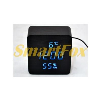 Часы настольные VST-872S-5 с синей подсветкой в виде деревянного бруска