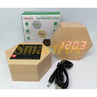 Часы настольные VST-876-1 с красной подсветкой в виде деревянного бруска