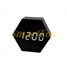 Настольные часы VST-876-6 с белой подсветкой в виде деревянного бруска