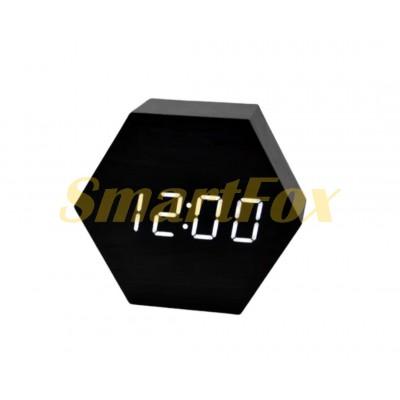 Часы настольные VST-876-6 с белой подсветкой в виде деревянного бруска