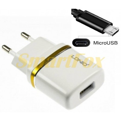 СЗУ USB LDINO DL-AC50 с microUSB WHITE