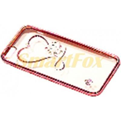 Чехол COV-050 для IPHONE 5/5S силиконовый прозрачный с сердечком в камушках с бампером под металл (в