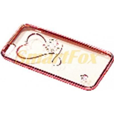 Чехол COV-051 для IPHONE 6/6S силиконовый прозрачный с сердечком в камушках с бампером под металл (в