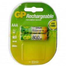 Аккумулятор GP Rechargeable R-03 800mAh (HR03,size AAA,NiMN) (цена за 1шт, продажа упаковкой 2шт)