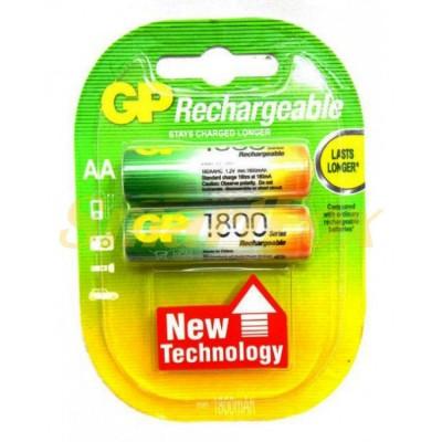 Аккумулятор GP Rechargeable R-6 1800mAh (HR6,size AA,NiMN) (цена за 1шт, продажа упаковкой 2шт)