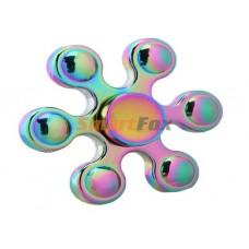 Спиннер 6- лучевой металлический радуга