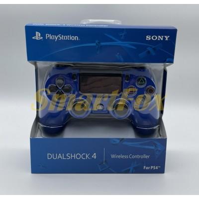Игровой манипулятор (джойстик) PS4 беспроводной с логотипом Синий