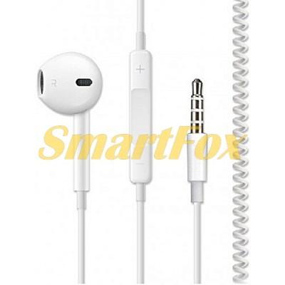 Наушники вакуумные c микрофоном IPHONE PLUSTAR (1 наушник-гарнитура)