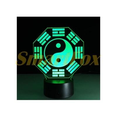 Ночник 3D Big (меняет цвета) Инь-Янь (без обмена, без возврата)