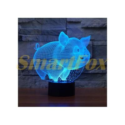 Ночник 3D Big (меняет цвета) Свинья (без обмена, без возврата)