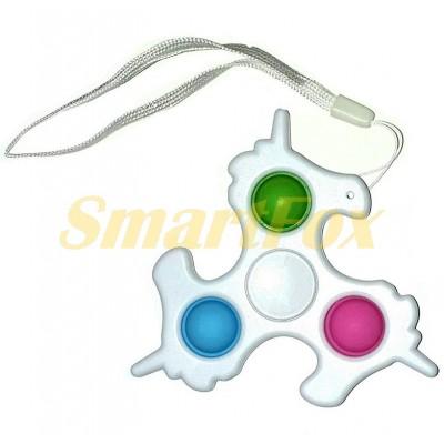 Игрушка-антистресс Pop it Simple Dimple Cпиннер тройной Единорог (9х9см)