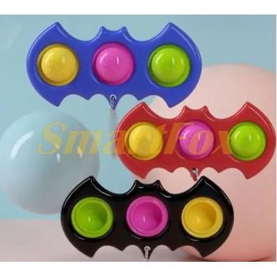 Игрушка-антистресс Pop it Simple Dimple Cпиннер тройной Бэтмен (10,5х4,7см)