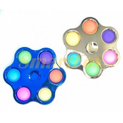 Игрушка-антистресс Pop it Simple Dimple Cпиннер шестерной Цветок (11,7см)