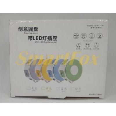 Сетевой фильтр 3 розетки/2USB с LED