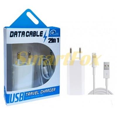 СЗУ USB 2 в 1 для IPHONE 5/6 1000 mAh WHITE (77604)