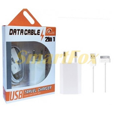СЗУ USB 2 в 1 для IPHONE 4 1000 mAh WHITE