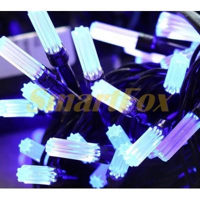 Гирлянда LED100B-5 черный провод и гексагональная лампа (синий) (без возврата, без обмена)