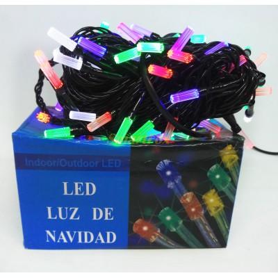 Гирлянда LED100M-5 черный провод гексагональная лампа (микс) (без возврата, без обмена)