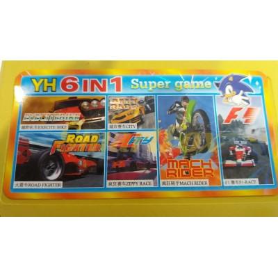 Картридж 8-bit Сборник игр денди YH 6in1 гонки