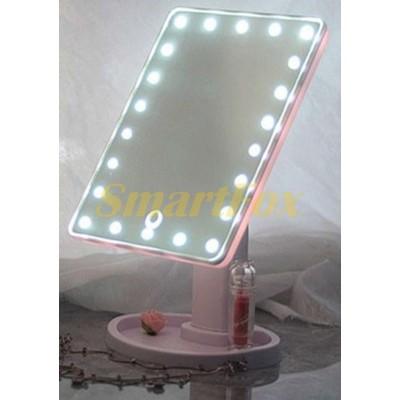 Зеркало для макияжа с подсветкой USB 624-3 PINK