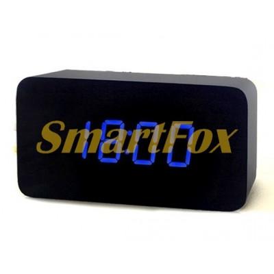Часы настольные VST-863-5 с синей подсветкой в виде деревянного бруска