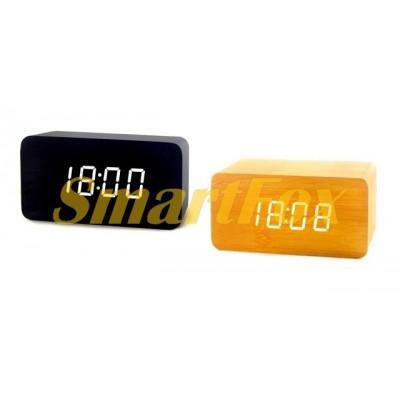 Часы настольные VST-863-6 с белой подсветкой в виде деревянного бруска