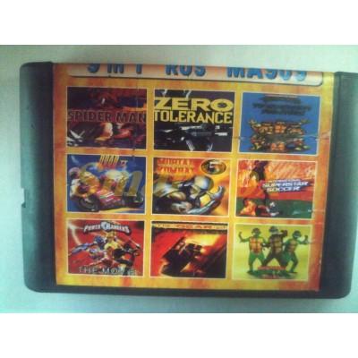 Картридж 16-bit Сборник игр для Sega 9 в 1 (MA-909): Teenage Mutant Ninja Tourtles Tornament + Spide