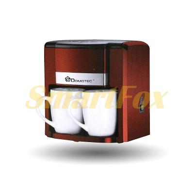 Кофеварка Domotec MS-0705 2 чашки 500Вт 300мл 220В Red