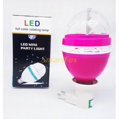 Светодиодная вращающаяся лампа патрон AB-04 (от розетки и цоколя 3ватт) (без обмена, без возврата)