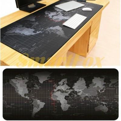 Коврик для мышки black map (карта мира) (70х30)