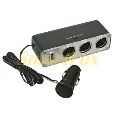АЗУ USB тройник в прикуриватель WF-0096A