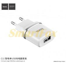 СЗУ USB HOCO C11 + кабель microUSB (V8) 1A