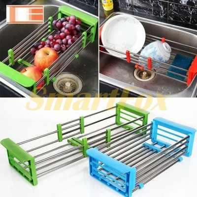 Кухонная сушилка для посуды универсальная раздвижная KITCHEN DRAIN SHELF (33-48 см)