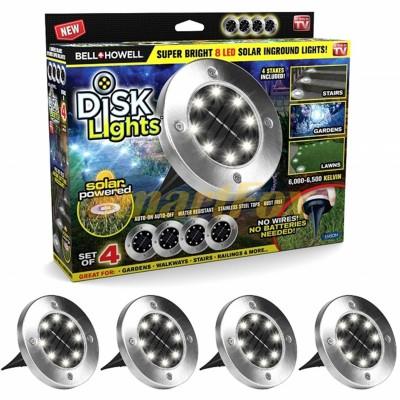 Светильники уличные на солнечных батареях Solar Disk Lights (набор из 4шт)