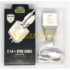 СЗУ 2USB GOLF GF-U2 + кабель USB/Lightning