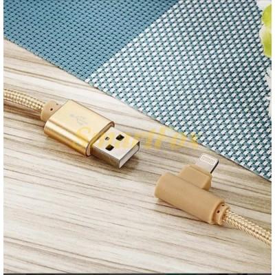 Кабель USB/IPHONE 5 REDDAX RDX-310 L круглый тканевый GOLD (1 м)