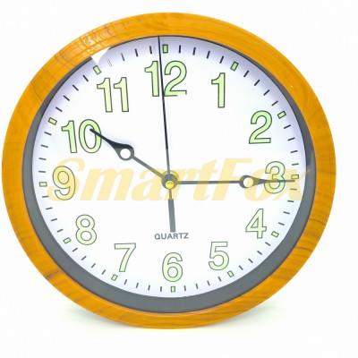 Часы настенные CYK-2314 круглые с подсветкой в деревянной рамке без шума (23 см)