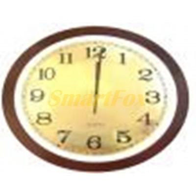 Часы настенные CYK-957M круглые в деревянной рамке с алюминиевым циферблатом без шума (32 см)