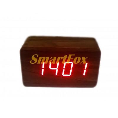 Часы настольные 1294 с красной подсветкой в виде деревянного бруска