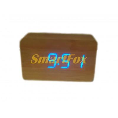 Часы настольные 1294 с синей подсветкой в виде деревянного бруска