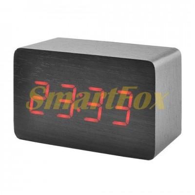 Часы настольные 1295 с красной подсветкой в виде деревянного бруска