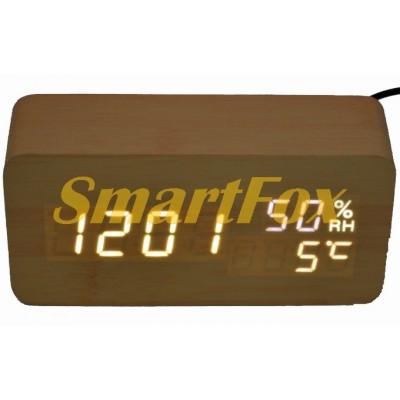 Часы настольные VST-862S-6 с белой подсветкой в виде деревянного бруска