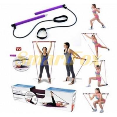 Палка гимнастическая для фитнеса с эспандерами SL-1122