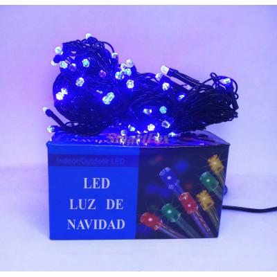 Гирлянда LED100B-7 черный провод и гексагональная лампа (синий) (без возврата, без обмена)