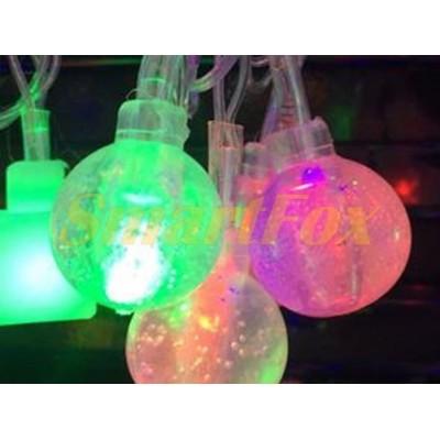 Гирлянда PLASTIC-40-1M 40 шариков снежинок прозрачный провод (микс) (без возврата, без обмена)